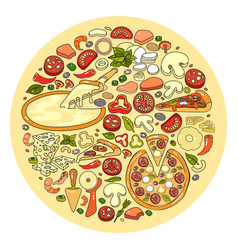 Set of pizza ingredient icon vector