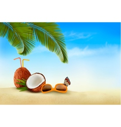 Vacation background beach with palm trees and blue vector