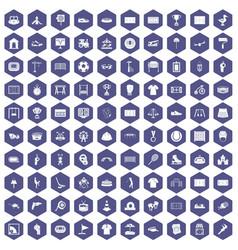 100 playground icons hexagon purple vector