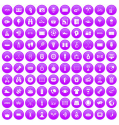 100 sport journalist icons set purple vector
