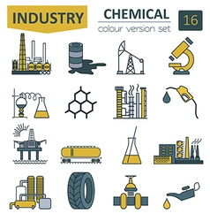 Chemical industry icon set colour version design vector