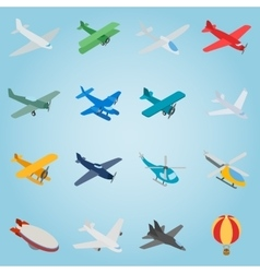 Aviation set icons isometric 3d style vector