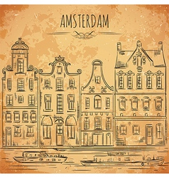 amsterdam traditional architecture of netherlands vector image
