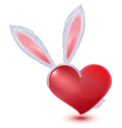Valentines day symbol fluffy bunny ears and red vector