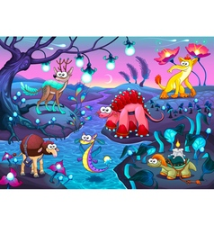 Group of funny animals in a fantasy landscape vector