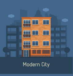 Modern multistory house on city background vector