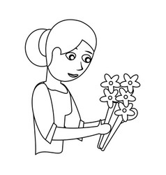 Mother with flower decoration outline vector