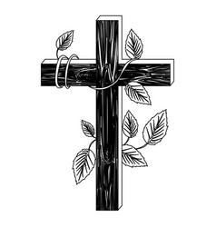 Black silhouette of wooden cross and creeper plant vector