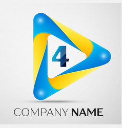 number four symbol in the colorful triangle vector image