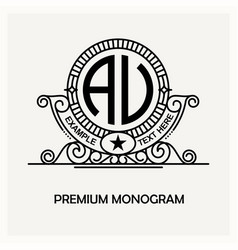 Modern emblem badge monogram template luxury vector