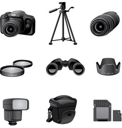 Photo accessories gray vector