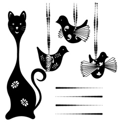 Silhouette cat and bird vector