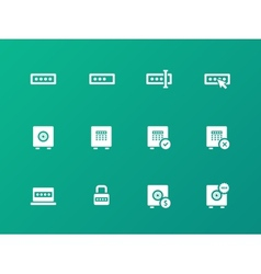 Password icons on green background vector