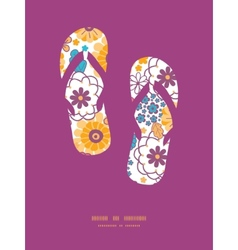 Colorful oriental flowers flip flops vector