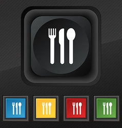 fork knife spoon icon symbol Set of five colorful vector image