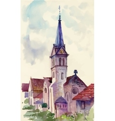 Watercolor landscape with houses and tower vector