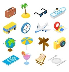 Travel isometric icons set vector