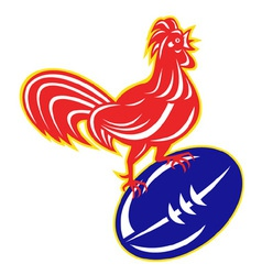 Rooster cockerel on top of rugby ball vector