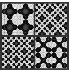 Pattern of circles black and white vector