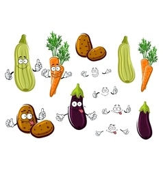 Cartoon eggplant carrots potatoes and zucchini vector