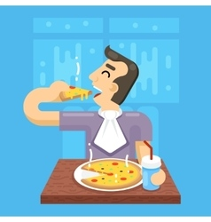 Hot pizza man eat symbol icon concept on stylish vector