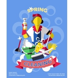 Cleaning colored poster vector