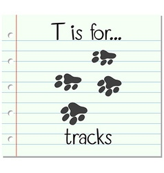 Flashcard letter t is for tracks vector
