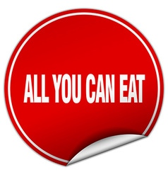 All you can eat round red sticker isolated on vector