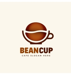 Beancup abstract cafe logo template grain vector