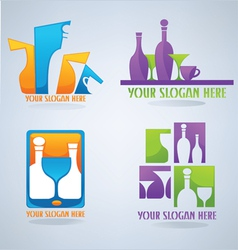Ollection of wine glass cocktail and coffee symb vector