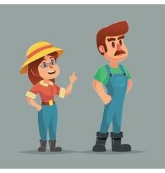 Funny cartoon farmer gardener man and woman vector