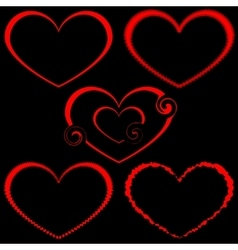 A set of five different hearts vector image