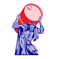 Atlas carrying barrel drum of oil retro vector