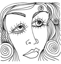 beautiful woman face sketch vector image