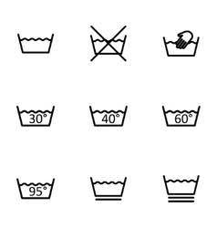 Black washing signs icon set vector