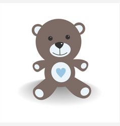 blue teddy bear with shade on a white background vector image