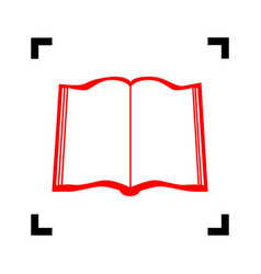 book sign red icon inside black focus vector image vector image