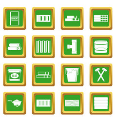Building materials icons set green vector