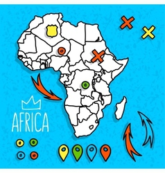 Cartoon style Africa travel map with pins vector image