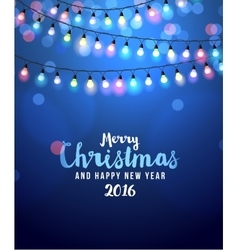 Christmas card with lights vector image vector image