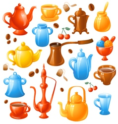 coffee tea set vector image vector image