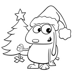 Dog with christmas tree coloring book vector