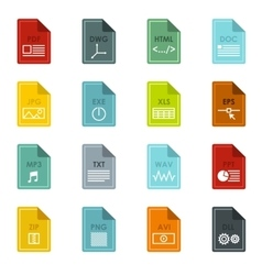 File format icons set flat style vector