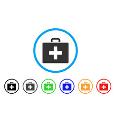 first aid bag rounded icon vector image vector image