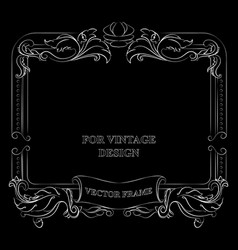 Frame with floral ornament on black vector