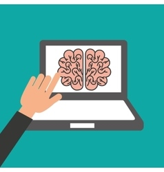 hands holds laptop-brain online education vector image