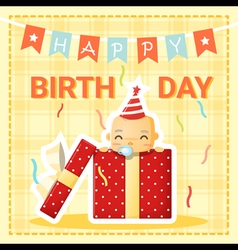 Happy birthday card with cute baby 1 vector