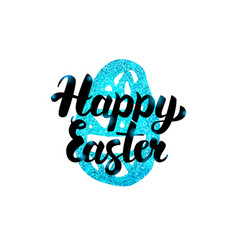 happy easter handwritten greeting vector image