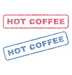 Hot coffee textile stamps vector