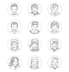 Kid avatar set thin line vector image vector image